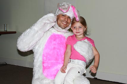 At the Embassy party she got to meet the Easter Bunny.