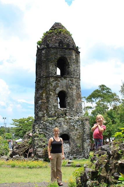 The famed belfry of the Cagsawa Church, the rest of which was buried in the lahar when Mt. Mayon erupted in 1814