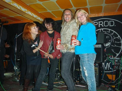 Rock Chicks on Stage:  Tatyana, Karin and Leonore on stage with Mariagrizel, the drummer from Obitus Designious