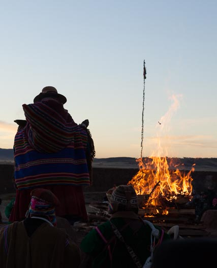 After all the offereings had been placed on the altar, the yatiri, or holy man, lit the fire and said a prayer.