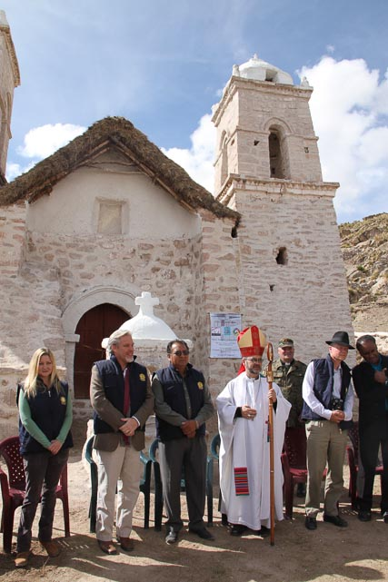 Mitch, Aruna, Philipp Schauer, and Tatyana, together with the Bishop of Oruro and Padre Gabriel Antequera at the ceremony for the completion of the preservation work.