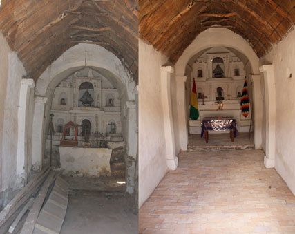 Interior of the chapel, before and after restoration
