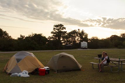 Our Campsite:  The sites are quite open and offer little in the way of privacy.