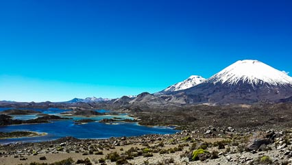 Lagunas de Cotacotani, with the Twin Volcanos Pomerape and Parinacota in the Background, Parque Lauca, Chile