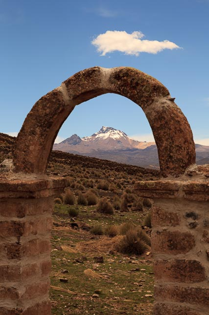View of the Sajama from the Courtyard